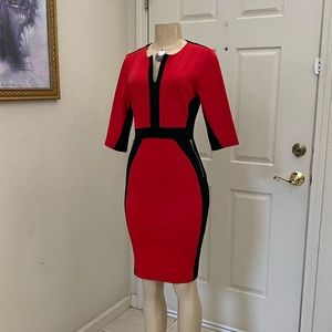 """HOMIE"" ❤️ Súper Chic 🖤 Sheath Black & Red Dress"
